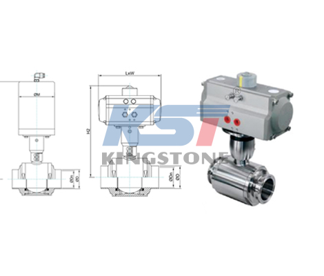 Pneumatic ball valve size figure